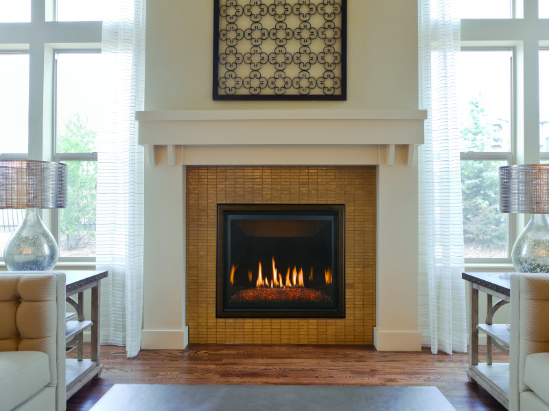 The Bayport 36 direct vent gas fireplace comes as a log set or a glass media set
