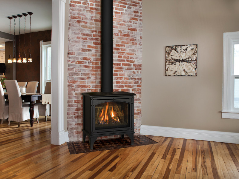 The Birchwood free-standing gas fireplace provides the detailing of a wood burning stove but offers the convenience of gas — available in contemporarily styled bases