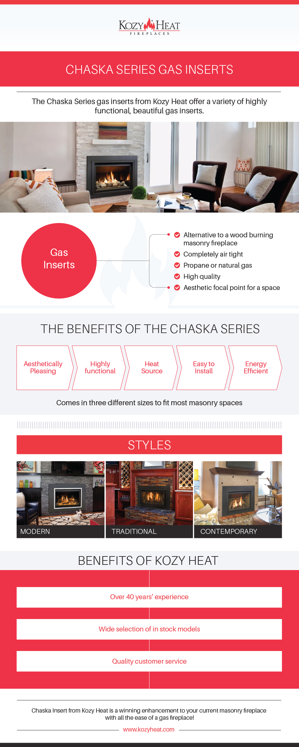 chaska series gas inserts kozy heat